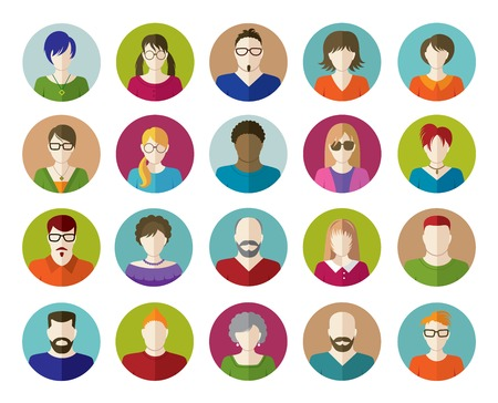 Illustration for Set of People Flat icons.  - Royalty Free Image