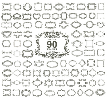 Illustration pour Set of 90 vintage floral frames. VECTOR. - image libre de droit