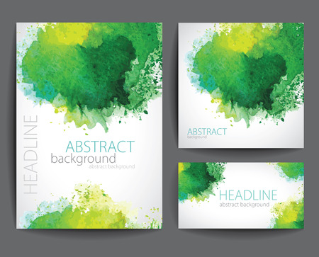 Illustration pour Set of Vector Banners with Green Watercolor Splash. - image libre de droit