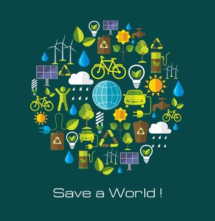 Ilustración de Environment and ecology banner with flat icons. Technology and nature design elements. - Imagen libre de derechos