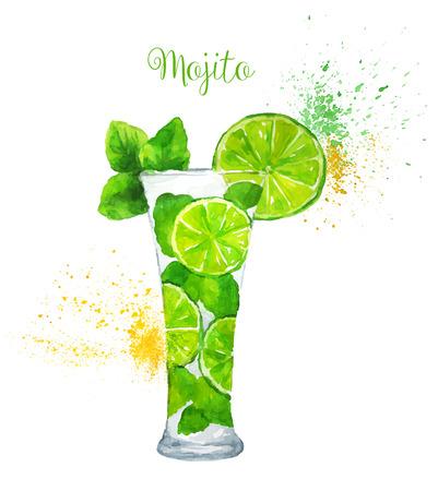 Ilustración de Watercolor Mojito cocktail on the white background. Vector illustration. - Imagen libre de derechos