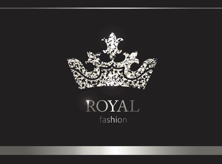 Illustration for Silver crown. Luxury label, emblem or packing. Logo design. Fashion banner with glitter and shine. - Royalty Free Image