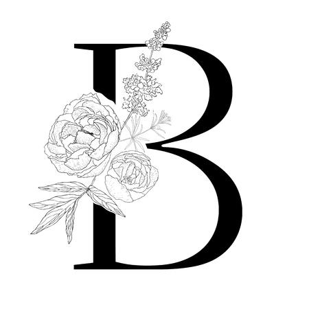 Illustration pour Floral alphabet. Decorative serif letter. Uppercase font. - image libre de droit