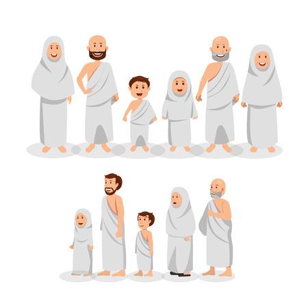 Illustration for Set of Muslim Family Wearing Ihram, Islamic Pilgrimage (Hajj) Vector Cartoon Illustration - Royalty Free Image