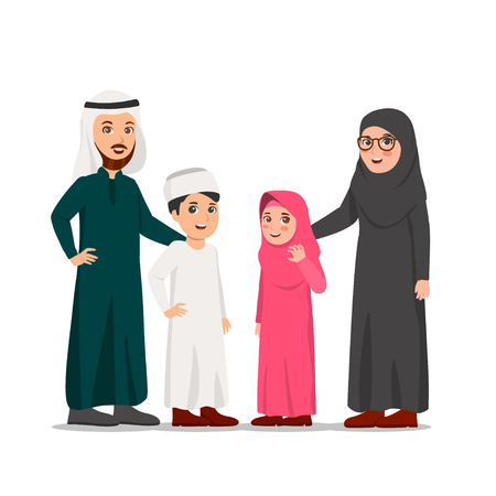 Illustration pour Happy Middle-Eastern Family, Father, Mother and Their Children Vector Cartoon Illustration - image libre de droit