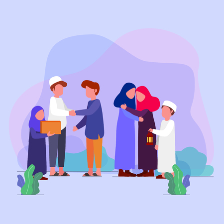 Illustration for Eid Mubarrak, families visit each other tradition on eid vector illustration greeting card - Royalty Free Image