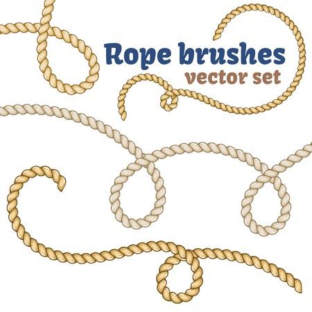 Illustration pour Rope brushes set. Decorative knots for your designs. - image libre de droit