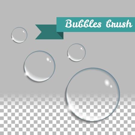 Illustration pour Transparent bubbles brush. Round realistic water drops. design elements set. - image libre de droit