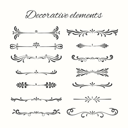 Illustration pour Hand drawn dividers set. Ornamental decorative elements. Vector ornate elements design. - image libre de droit
