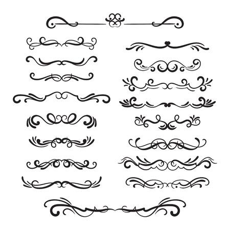 Illustration pour Flourishes vintage. Ornamental borders and dividers, filigree ornament swirls. Victorian decoration elements. - image libre de droit