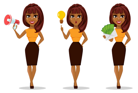 Ilustración de African American business woman cartoon character. Set of young beautiful businesswoman in smart casual clothes holding loudspeaker, with a good idea and holding envelope full of money. - Imagen libre de derechos