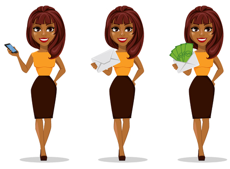 Ilustración de African American business woman cartoon character. Set of young beautiful businesswoman in smart casual clothes holding smartphone. - Imagen libre de derechos