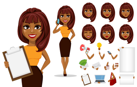 Ilustración de Pack of body parts and emotions. African American business woman cartoon character creation set. Young beautiful businesswoman in smart casual clothes. Stock vector - Imagen libre de derechos