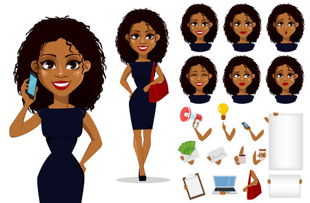 Illustration pour Pack of body parts and emotions. African American business woman cartoon character creation set. - image libre de droit