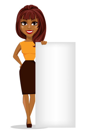 Ilustración de African American business woman cartoon character. Young beautiful smiling businesswoman in smart casual clothes standing near blank placard. - Imagen libre de derechos