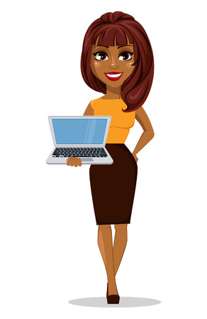 Ilustración de African American business woman cartoon character. Young beautiful smiling businesswoman in smart casual clothes holding laptop. Stock vector - Imagen libre de derechos