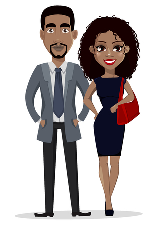 Ilustración de African American business man and business woman, cartoon characters. Smiling businessman and businesswoman in casual clothes. Vector illustration isolated on white background. - Imagen libre de derechos