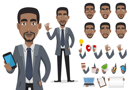 Ilustración de African American business man cartoon character creation set, pack of body parts and emotions. Smiling businessman in office clothes. Vector illustration. - Imagen libre de derechos