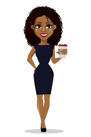Ilustración de African American business woman cartoon character. Young beautiful businesswoman in smart casual clothes holding coffee. Vector illustration - Imagen libre de derechos