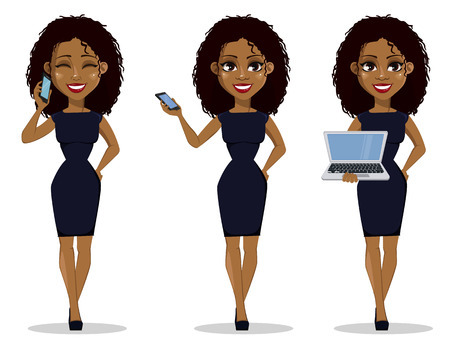 Ilustración de African American business woman cartoon character, set. Young beautiful businesswoman in smart casual clothes holding smartphone and holding laptop. Vector illustration - Imagen libre de derechos
