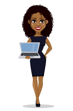 Ilustración de African American business woman cartoon character. Young beautiful businesswoman in smart casual clothes holding modern laptop. Vector illustration - Imagen libre de derechos