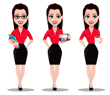 Illustration pour Sexy secretary, set of three poses. Beautiful office assistant in office style clothes holding documents, holding coffeepot and holding a cup of coffee. Vector illustration - image libre de droit