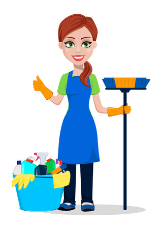 Illustrazione per Cleaning company staff in uniform. Woman cartoon character cleaner with brush and with bucket full of detergents. Vector illustration on white background - Immagini Royalty Free