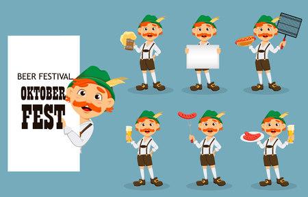 Oktoberfest, beer festival. Funny redhead man, cartoon character, set of seven poses. Vector illustration