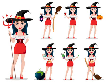 Happy Halloween. Sexy witch in beautiful dress and hat, set of seven poses. Cute cartoon character. Vector illustration