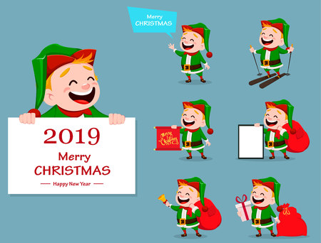 Merry Christmas. Funny Santa Claus helper, set of seven poses. Cheerful cute elf. Cartoon character. Usable for banner, poster, flyer, label or tag. Vector illustration.