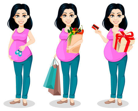 Ilustración de Pregnant woman. Beautiful lady prepares to be a mother, set of three poses. Cute cartoon character holds baby shoes, holds shopping bags and holds gift box. Vector illustration. - Imagen libre de derechos