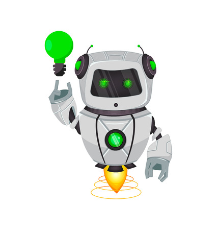 Illustration pour Robot with artificial intelligence, bot. Funny cartoon character having a good idea. Humanoid cybernetic organism. Future concept. Vector Illustration - image libre de droit