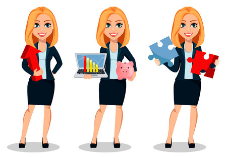 Illustrazione per Business woman in office style clothes, set of three poses. Modern lady businesswoman holds red arrow, holds laptop and holds two pieces of puzzle. Cheerful cartoon character. Vector illustration - Immagini Royalty Free