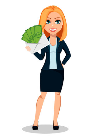 Illustrazione per Business woman in office style clothes. Modern lady businesswoman holding envelope with money. Cheerful cartoon character. Vector illustration on white background. - Immagini Royalty Free