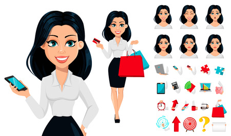 Illustrazione per Concept of modern young business woman, pack of body parts, emotions and things. Cartoon character businesswoman. Make your personal design. Vector illustration - Immagini Royalty Free