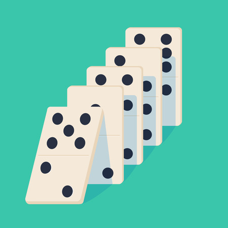 Illustration pour Falling dominoes. Concept of Domino effect. Vector illustration of projection isolated on background. White Icon game of dominoes. Board game Domino for web. - image libre de droit