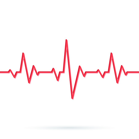 Ilustración de Heartbeat line. Seamless background. Vector illustration of Red heart rhythm ekg. Pulse Cardiogram pattern or icon - Imagen libre de derechos