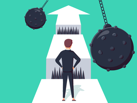 Ilustración de Business challenge concept with businessman walking towards gap. Symbol of success, opportunity or overcoming, ambition and courage vector illustration. Man thinking about ways to business obstacle. - Imagen libre de derechos