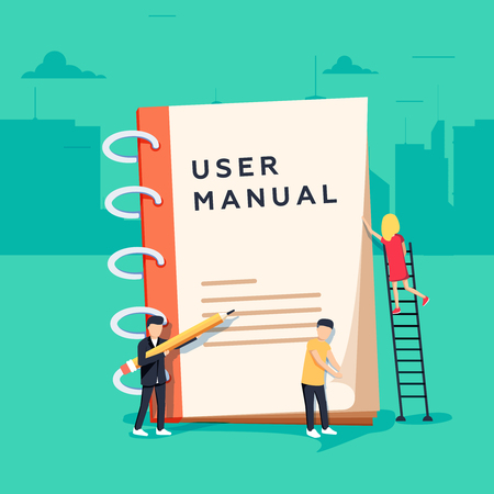 Illustration pour User manual flat style vector concept. People, surrounded with some office stuff, are discussing content - image libre de droit