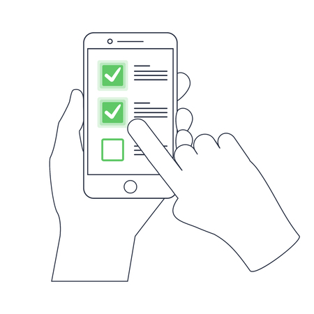 Photo pour Checklist on smartphone display, checkboxes with check mark. List of purchases, tasks to do or wish list on the website line icon concept. Outline mobile vector design, premium quality trendy icon. - image libre de droit