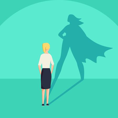 Ilustración de Businesswoman with superhero shadow vector concept. Business symbol of emancipation ambition and success motivation. Leadership or courage and challenge. Eps10 vector illustration. - Imagen libre de derechos