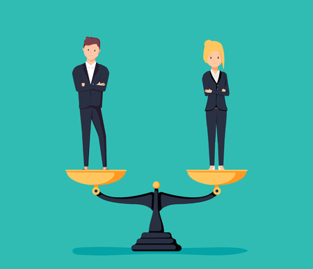 Illustration pour Business gender equality vector concept with businessman and businesswoman on scales on the same height. Symbol of equal pay, salary, fairness and justice and emancipation. Eps10 vector illustration. - image libre de droit