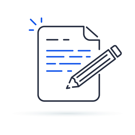 Illustration pour Contract terms and conditions. Document paper and creative writing or storytelling, business brief text, write summary for assignment vector line icon thin stroke illustration. - image libre de droit