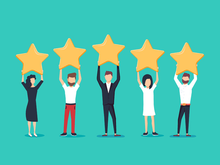 Illustration pour Five stars rating flat style vector concept. People are holding stars over the heads. - image libre de droit