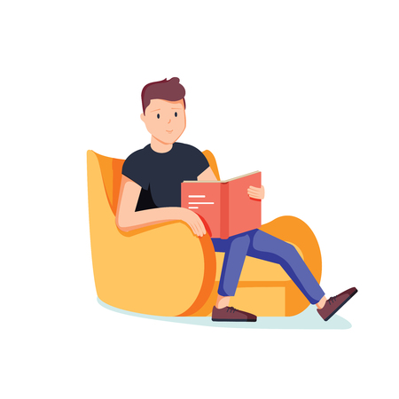 Illustrazione per Caucasian white man relaxing with a book on the armchair. Young clever student reading a novel at home. Vector cartoon illustration isolated on white background. Square layout. - Immagini Royalty Free