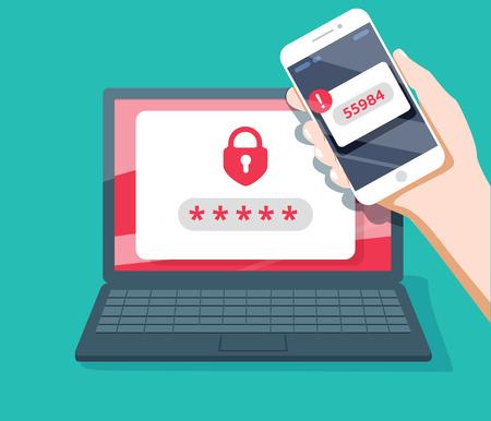 Ilustración de Two step authentication vector illustration, flat cartoon smartphone and computer safety login or signin - Imagen libre de derechos