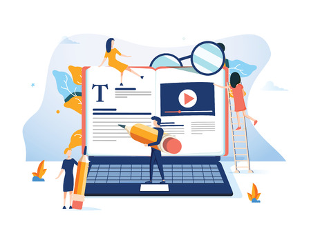 Illustrazione per Concept Professional training, education video tutorial for web page, banner, presentation, social media documents. online business courses, presentation Vector illustration Expertise skill podcast - Immagini Royalty Free