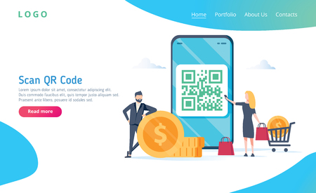 Illustration pour QR code scanning vector illustration concept, people use smartphone and scan qr code for payment and everything - image libre de droit