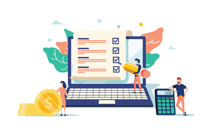 Illustration pour smart digital contract vector illustration concept, businessman signing online contract agreement with laptop, can use for, landing page, template, ui web, mobile app, poster, banner or flyer - image libre de droit