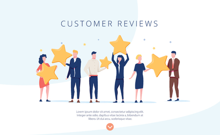 Illustration pour People holding stars. Customer reviews concept illustration concept illustration, perfect for web design, banner, mobile app, landing page, vector flat design. Feedback, know your customer concept. - image libre de droit